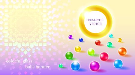 Scattered on the surface multicolored sparkling glass bubbles round banner on a purple gradient background. Colorful transparent ornament. 3d vector illustration.