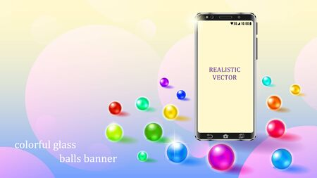 Scattered on the surface multicolored sparkling glass bubbles round banner. Realistic smartphone in metal case with a blank screen. 3d vector illustration. Vectores