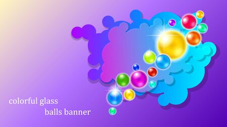 Abstract orange sparkling bubbles and clouds banner on a purple gradient background. Colorful 3d vector illustration. Vectores