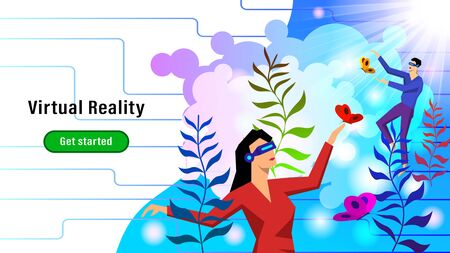 People with VR glasses playing with butterflies among the plants. Fantastic colorful flat style vector illustration virtual reality...