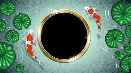 Two white with red spots Koi fishes among green Lotus leaves in water. Gold ring in the form of a frame with copy space for text. Japanese carp top view. Colorful vector illustration.