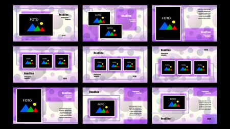 Set Landing pages purple color of rectangular elements, photo frames template on the background of transparent gray circles. Business presentation, vector illustration stock. Vectores