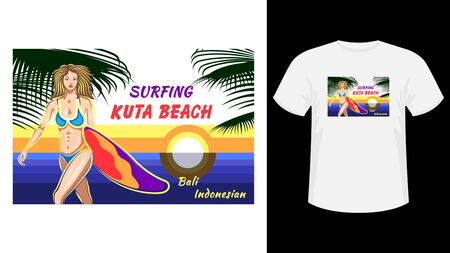 Inscription Surfing Kuta beach print white t-shirt.