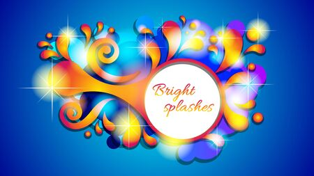 Abstract colorful bright splashes, sparkling round banner.
