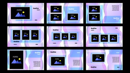 Set landing pages purple and blue color of rectangular and fluid elements, photo frames template with the background. Business presentation, vector illustration stock. Vectores