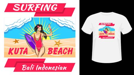 Inscription Surfing Kuta beach print white t-shirt. Woman in a swimsuit holding surfboard, front view, against the blue sky and sunset. Flat style vector illustration stock.