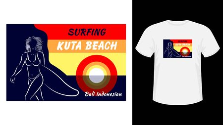 Inscription Surfing Kuta beach print white t-shirt. Outline drawing woman in a swimsuit holding surfboard, front view, against the sea and sunset. Flat style vector illustration stock.