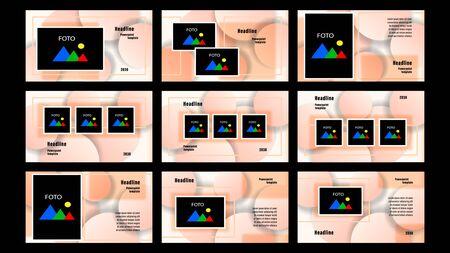 Set Landing pages beige color of rectangular elements, photo frames template on the background of transparent circles. Business presentation, vector illustration stock.
