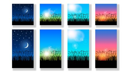 Set realistic beautiful colorful nature landscapes, silhouette black grass and different clear sky night, morning, afternoon, evening. Part of the day in summer. Vector illustration stock.