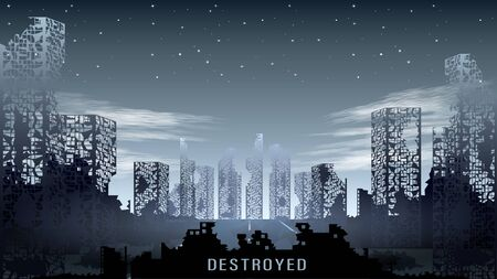 Panorama of the destroyed city against the night starry sky Illustration