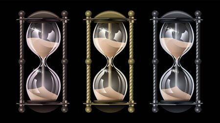 Set realistic vintage hourglass, sandglass of different metals isolated