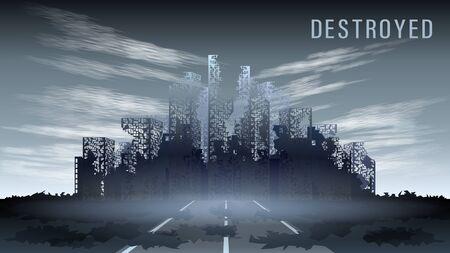 Panorama réaliste de la ville détruite contre le ciel gris, vue arrière Vecteurs