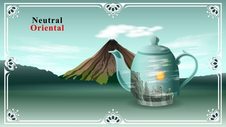 Porcelain teapot on the background of a volcano