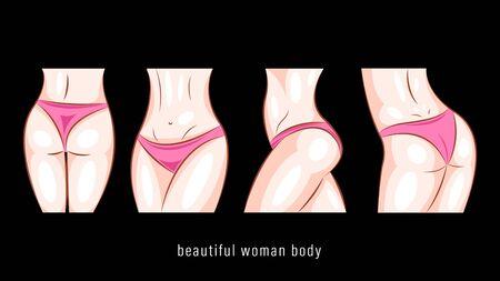 Beautiful woman body in different poses vector Foto de archivo - 138444736