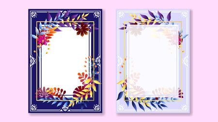 Colorful flower frame greeting card vector illustration. Illustration