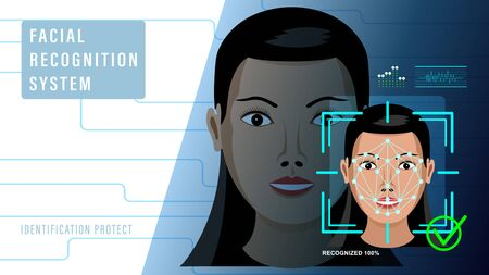 Facial recognition system. Identification protect. Vector illustration. Foto de archivo - 138444739