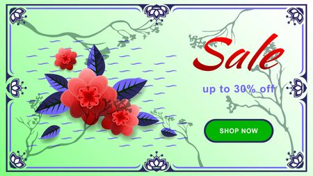 Advertisting sale with discount web design banner Illustration