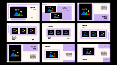 Set Landing pages purple color of quadrilaterals, rectangular elements, photo frames template with the background. Business presentation, vector illustration stock. Foto de archivo - 138422647