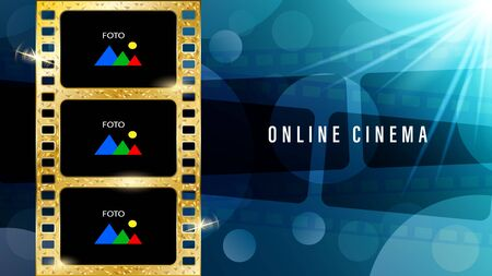 Inscription online cinema, realistic gold film with copy space for text and foto