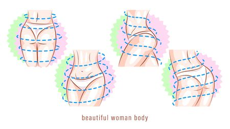 Beautiful woman body in different poses vector