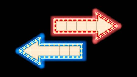 Blue and red neon arrow pointer, right or left direction indicators isolated on a black background. Vector illustration stock. Foto de archivo - 138457946
