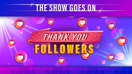 Thank you followers. Colorful web design banner for social media network.