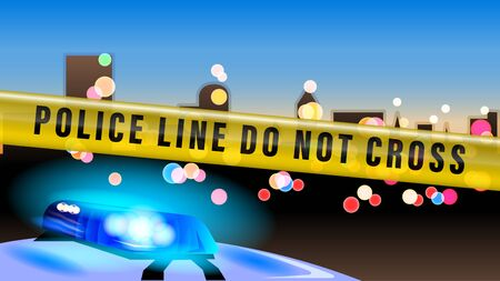 Police tape. Police car flashing light on evening bokeh city background. Realistic vector illustration.