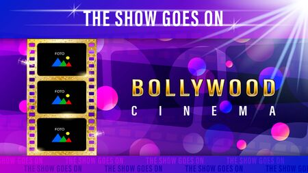 Inscription Bollywood cinema, realistic gold film with copy space for text and foto, image on a blue and pink gradient blur light effect background. Mixed media vector illustration stock.