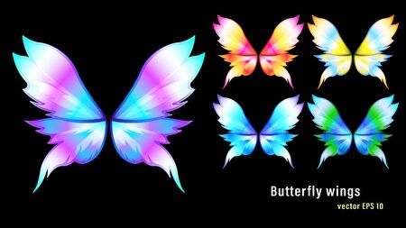 Set different colorful gradient flame butterfly wings isolated on a black background. Vector illustration stock. Vectores