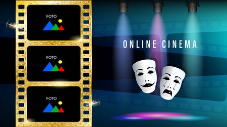 Online cinema gold film theatrical masks of drama and comedy