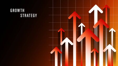 up red gradient arrows, growth strategy web design Illustration