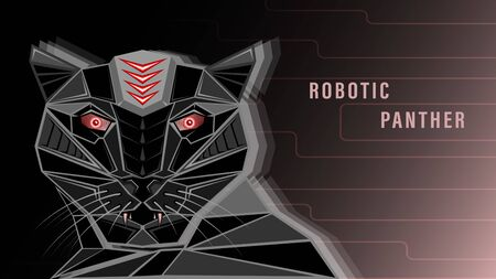 Futuristic head black robotic panther whith red eyes