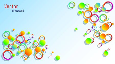 Abstract colorful lots circles and rings with shadow on a pastel blue background. 3d Vector illustration stock.