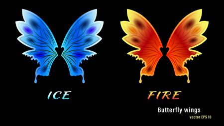 Set different colorful gradient flame fire and ice spotted butterfly wings isolated on a black background. Vector illustration stock.