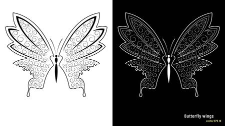 White and black butterfly wings with a pattern isolated