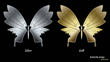 Silver and gold metal butterfly wings with a ornate pattern isolated on black background. 3d realistic detailed vector illustration stock. Vectores