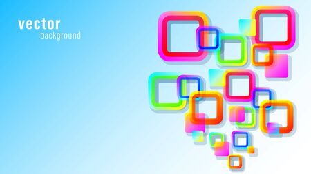 Abstract colorful rounded squares, quadrate 3d background Vectores