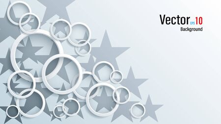 3d white paper or plastic circles on background Vectores