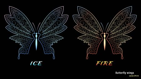 Ice and fire butterfly wings with a pattern isolated Foto de archivo - 143263833