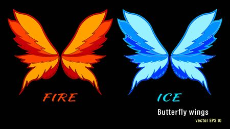 Set different colorful flame butterfly wings isolated Illustration