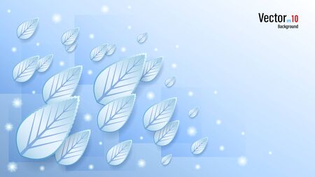 3d blue ice leaves on snow background