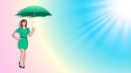 slim young woman holding umbrella isolated background