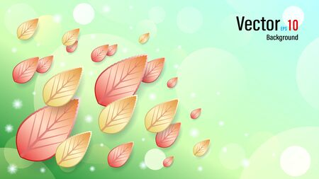 3d falling autumn leaves on snow background Vectores