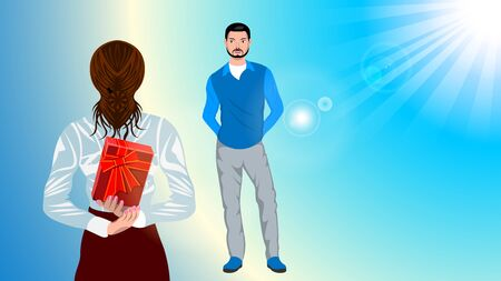 Woman holding gift behind her back for a man. Illustration