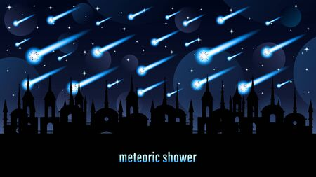 Meteoric shower light effect Horizontal web design banner Illustration