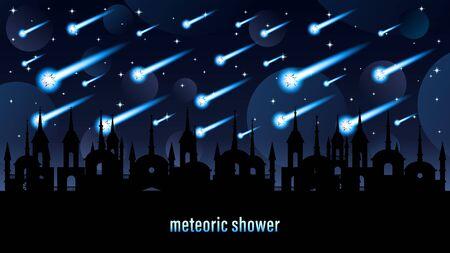 Meteoric shower light effect Horizontal web design banner Vectores