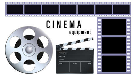 Realistic cinema equipment isolated on a white background