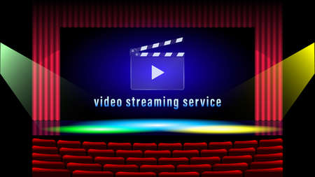 Video streaming service. Clapboard realistic design vector