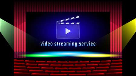 Video streaming service. Clapboard realistic design vector Foto de archivo - 151776782