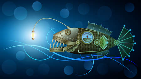 Mechanical golden metal fish under water, Steampunk.